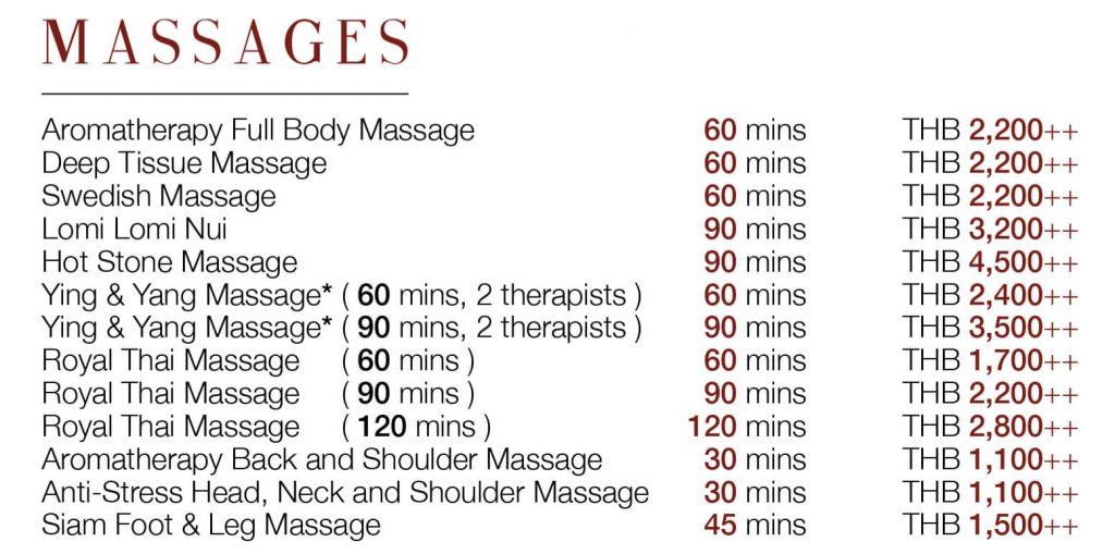 Цены на массаж в СПА-салоне отеля Royal Cliff Pattaya