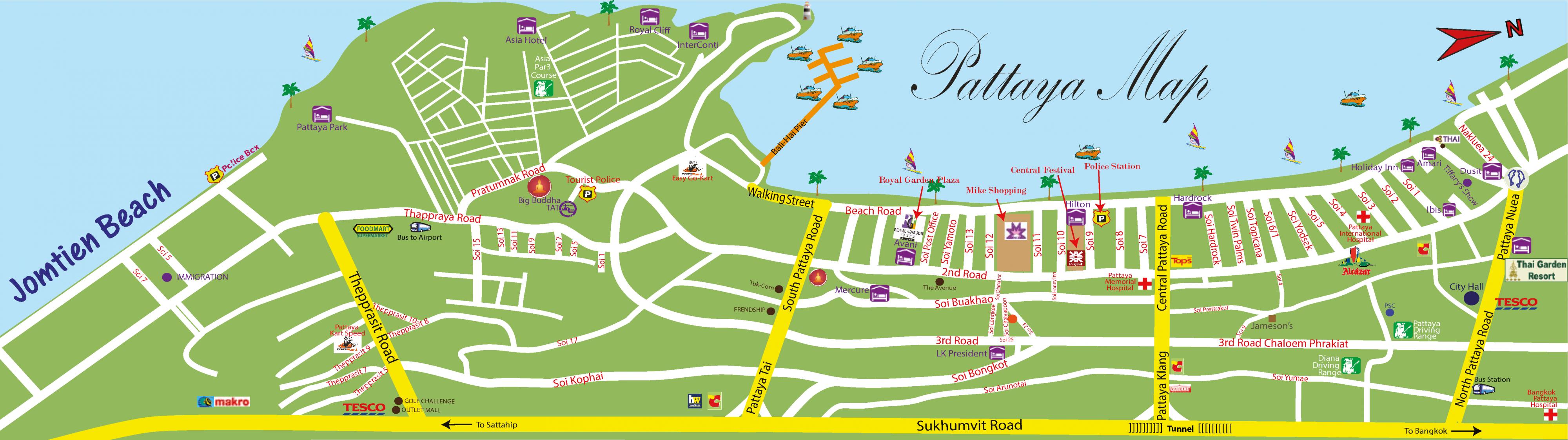 Центральная часть Паттайи (схема)