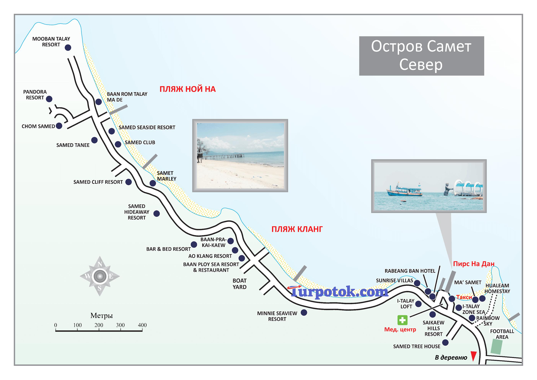 Север Самета, карта пляжей Ной На и Кланг