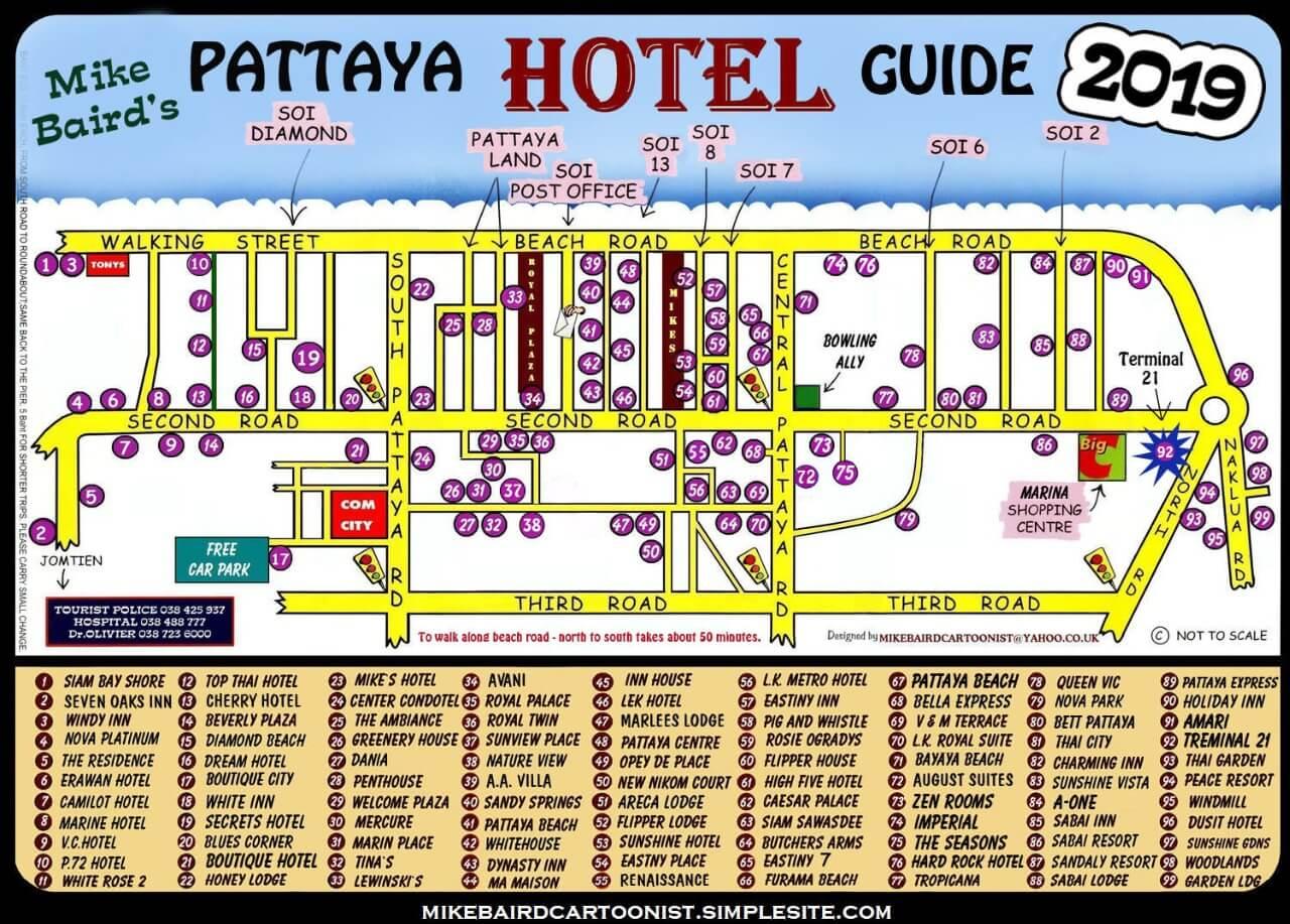 Нарисованная карта г. Паттайя