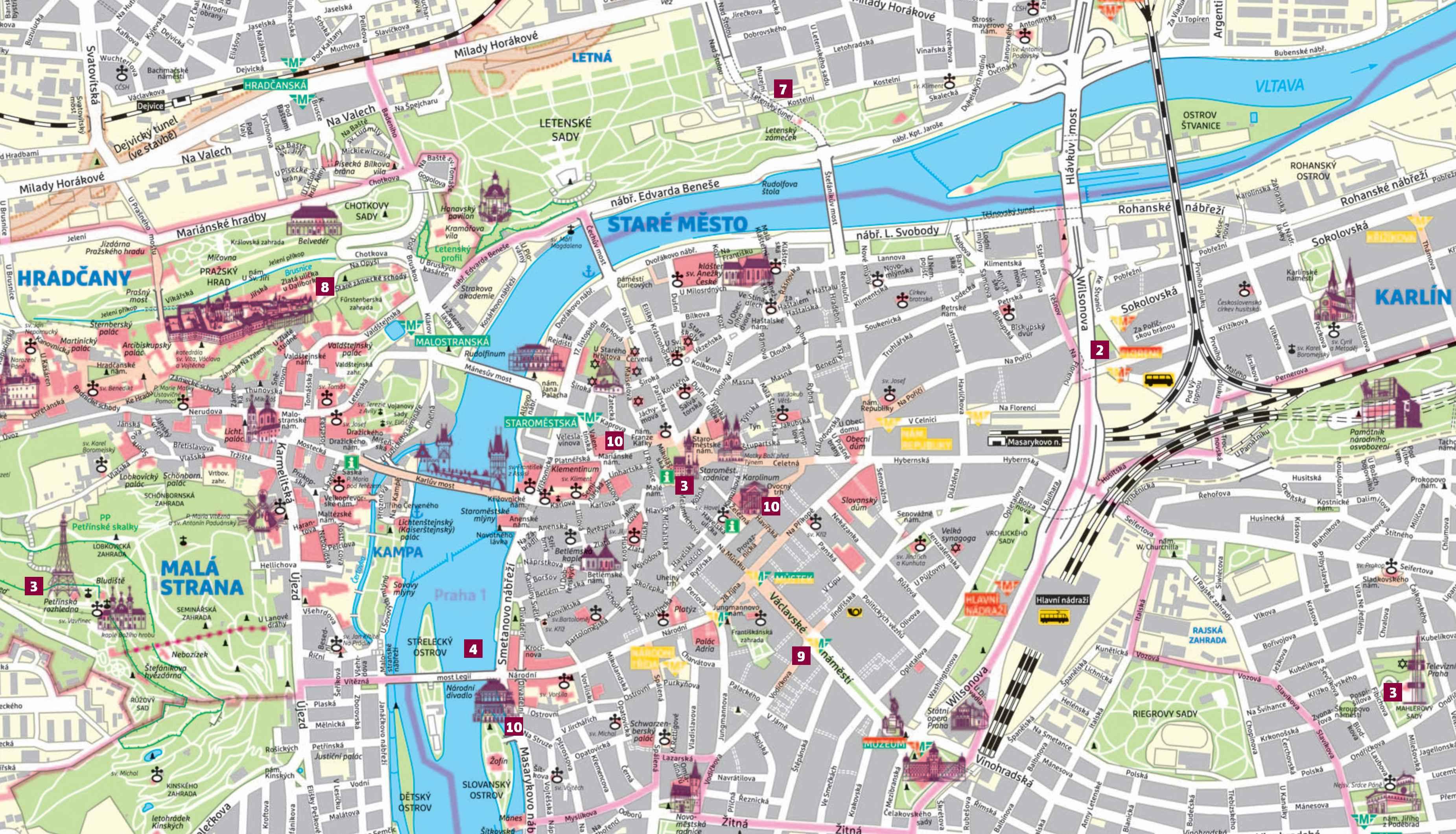 Карта Праги для детей