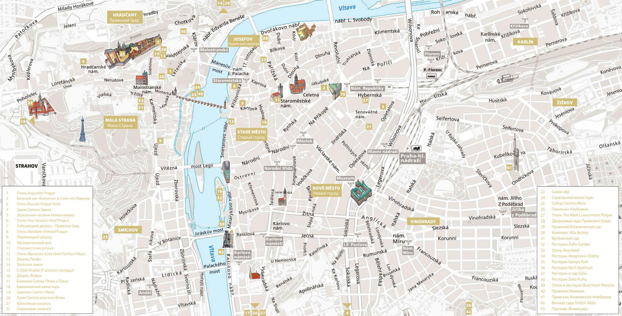 Схема Праги с самыми романтичными местами