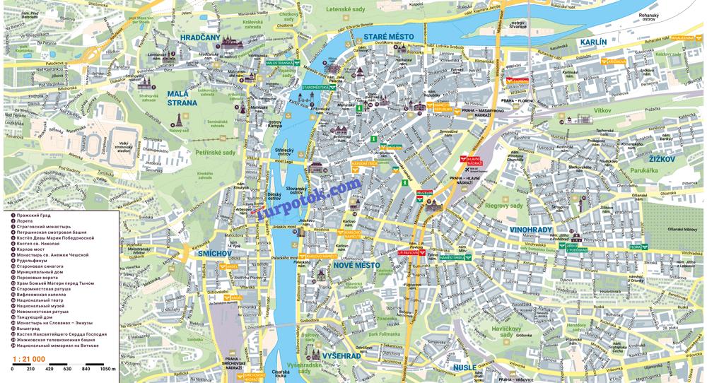 Схема Праги с городскими районами