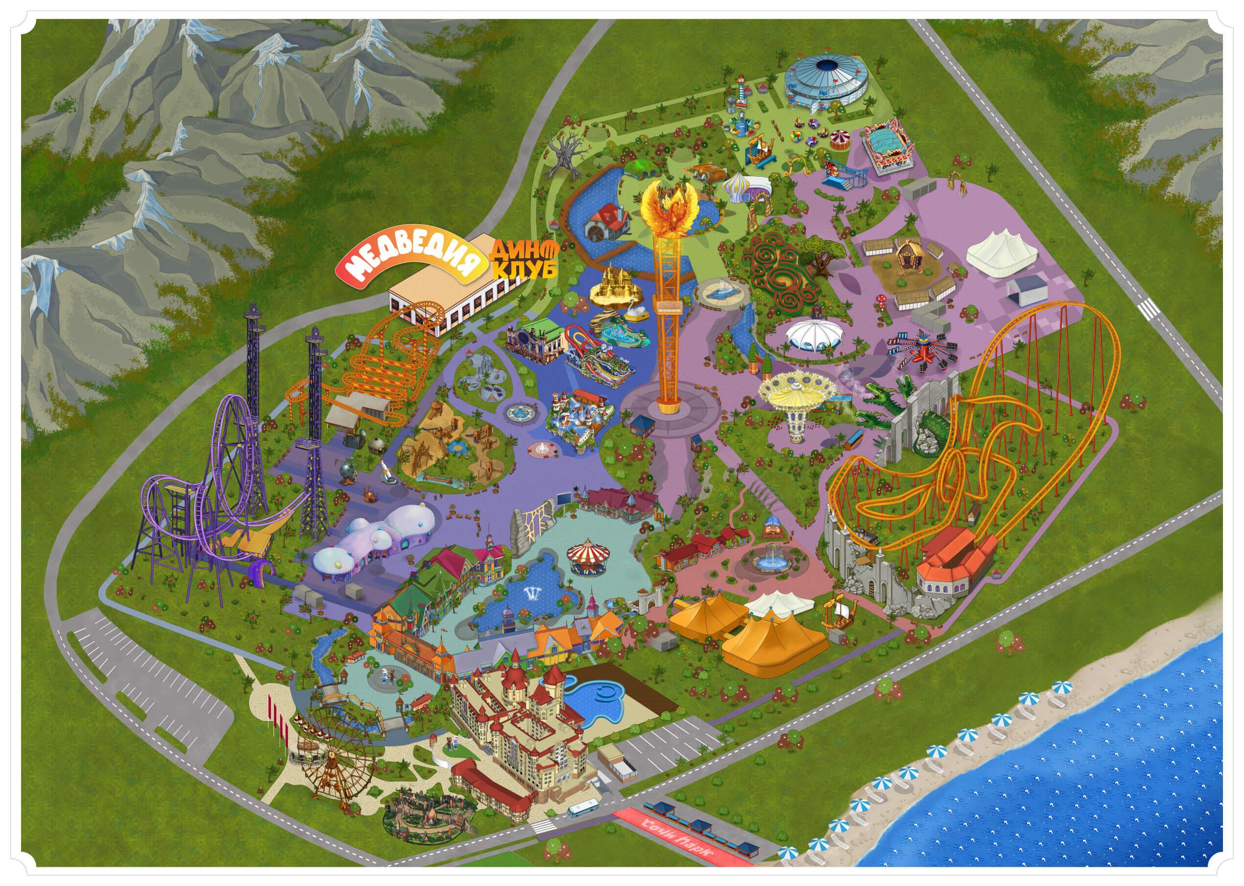 Карта Сочи Парка