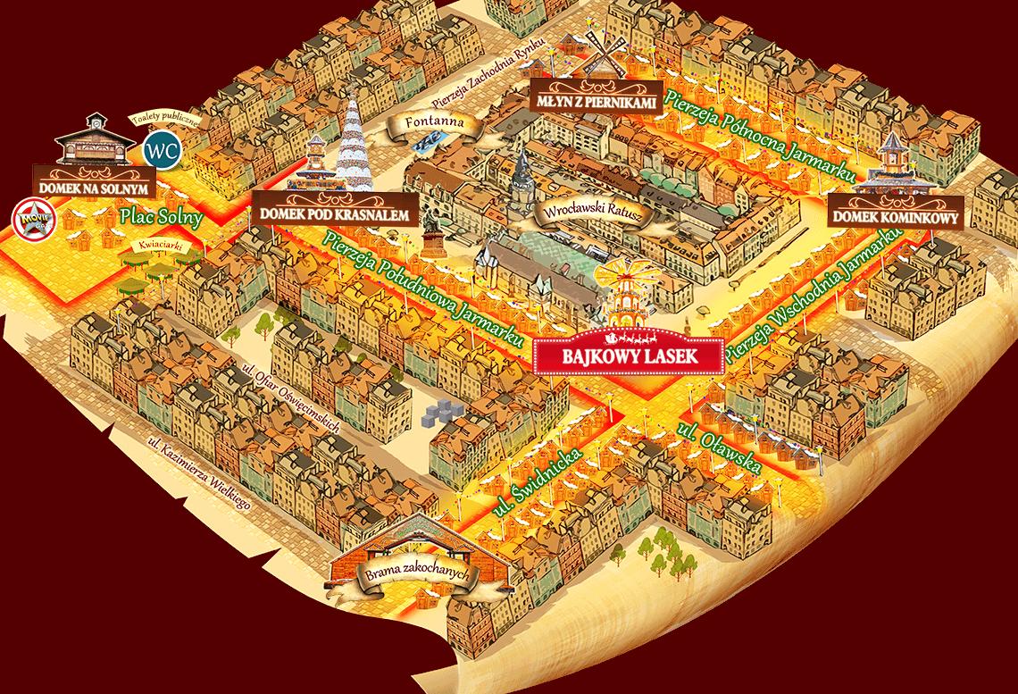 Карта расположения павильонов на рождественской ярмарке во Вроцлаве (Польша)