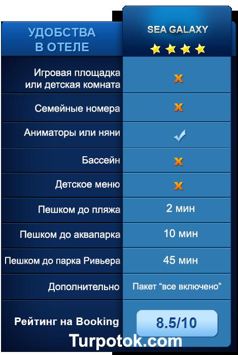 """Услуги и удобства в отеле Sea Galaxy """"Все включено"""""""