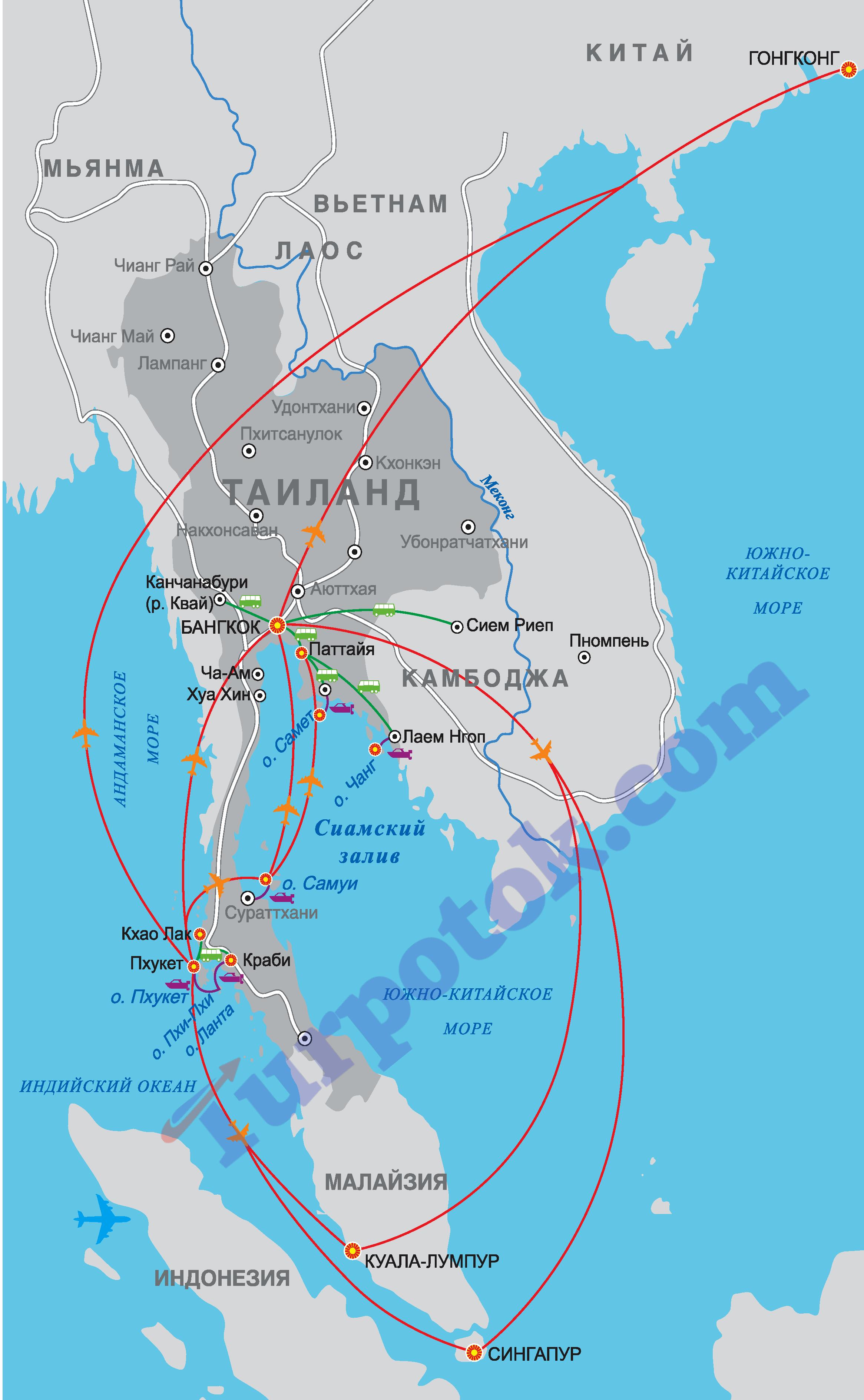 Бангкок, Паттайя, Пхукет, Самуи, Ко Чанг, Хуа Хин, Краби на карта Таиланда