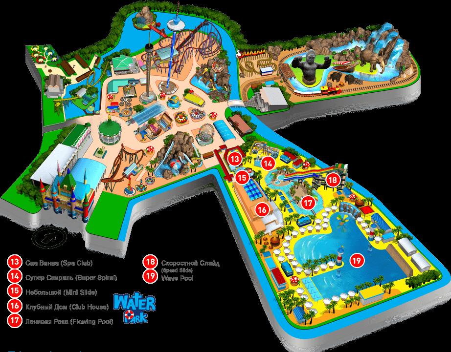 Карта аквапарка Siam Park в Бангкоке