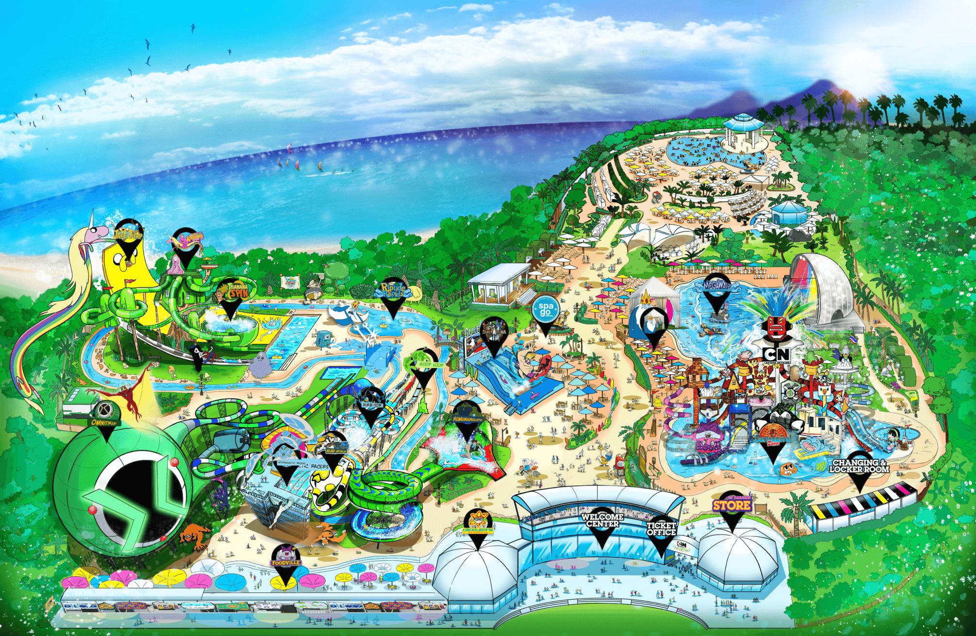 Карта аквапарка Картун в Паттайе