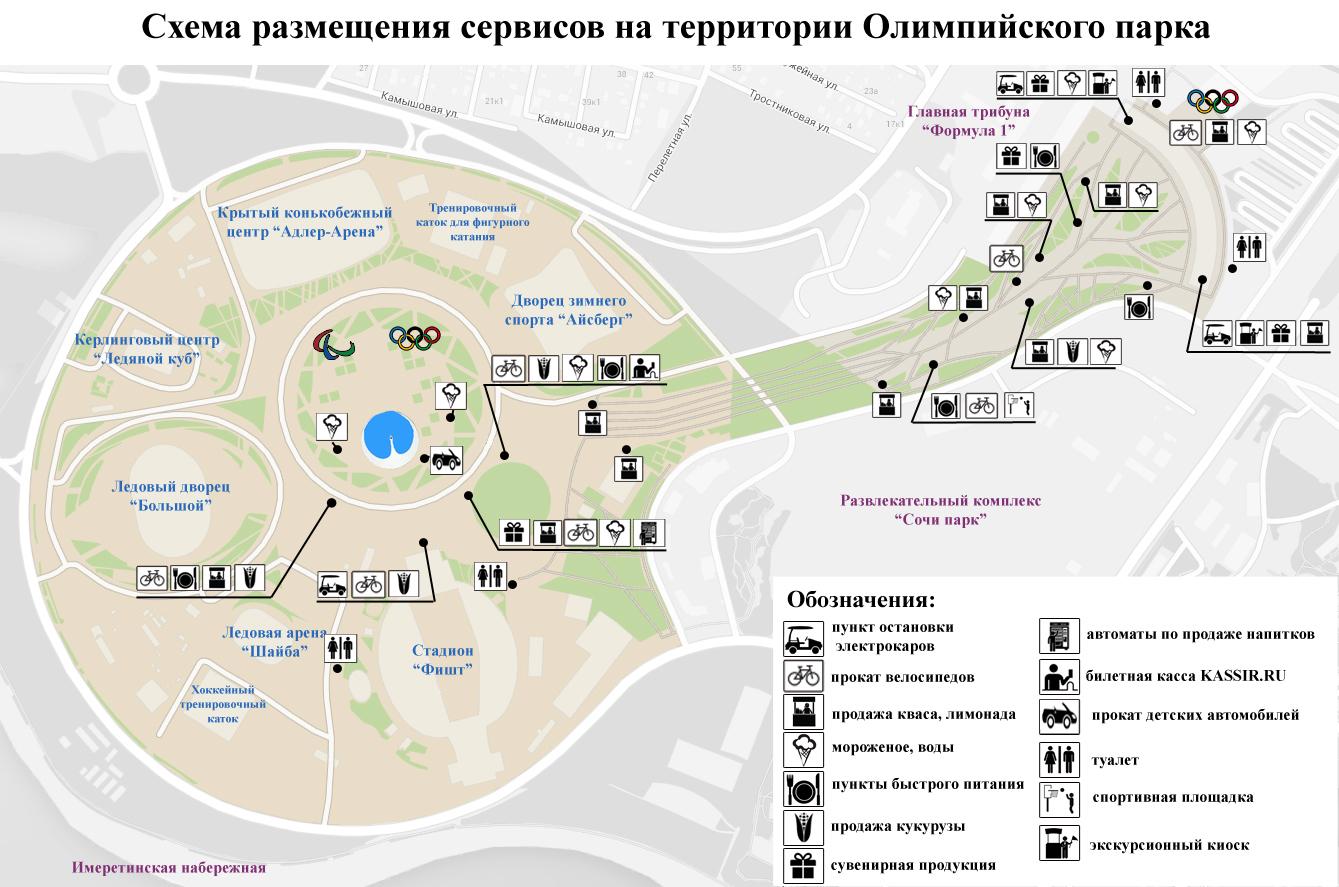 """Карта """"Инфраструктура вокруг Олимпийского парка Сочи"""""""