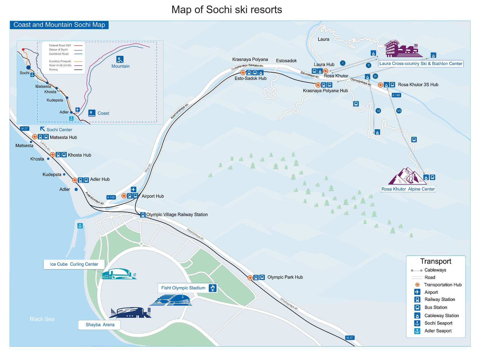 Map of Sochi ski resorts