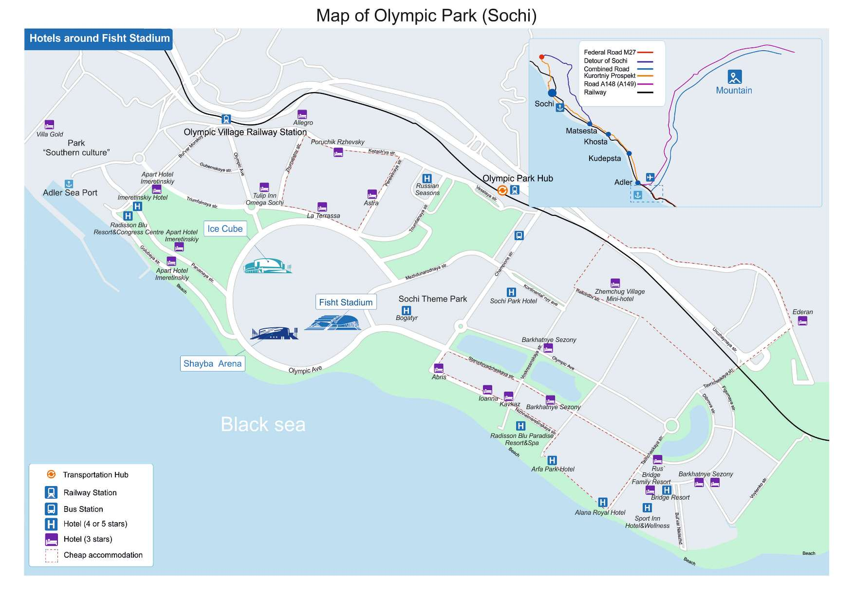 Map of the Olympic Park in Sochi (Adler)