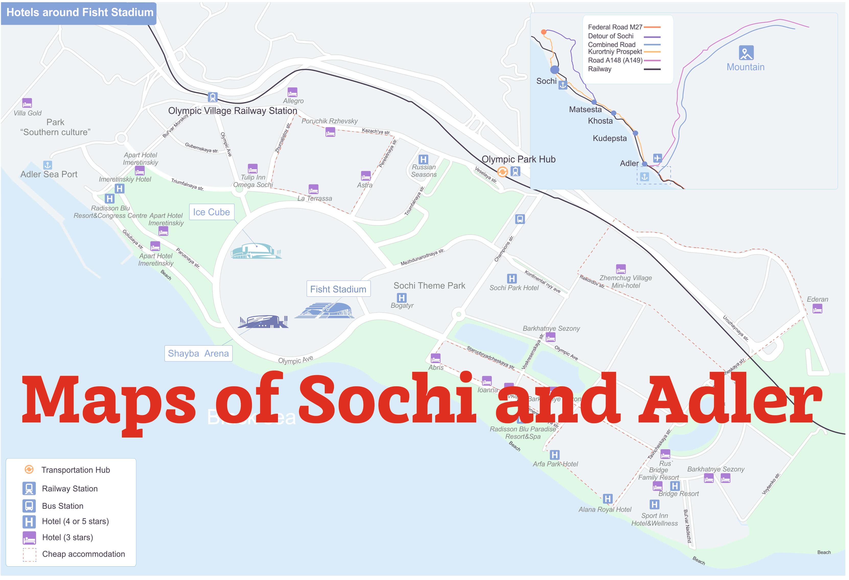 Maps of Sochi and Adler