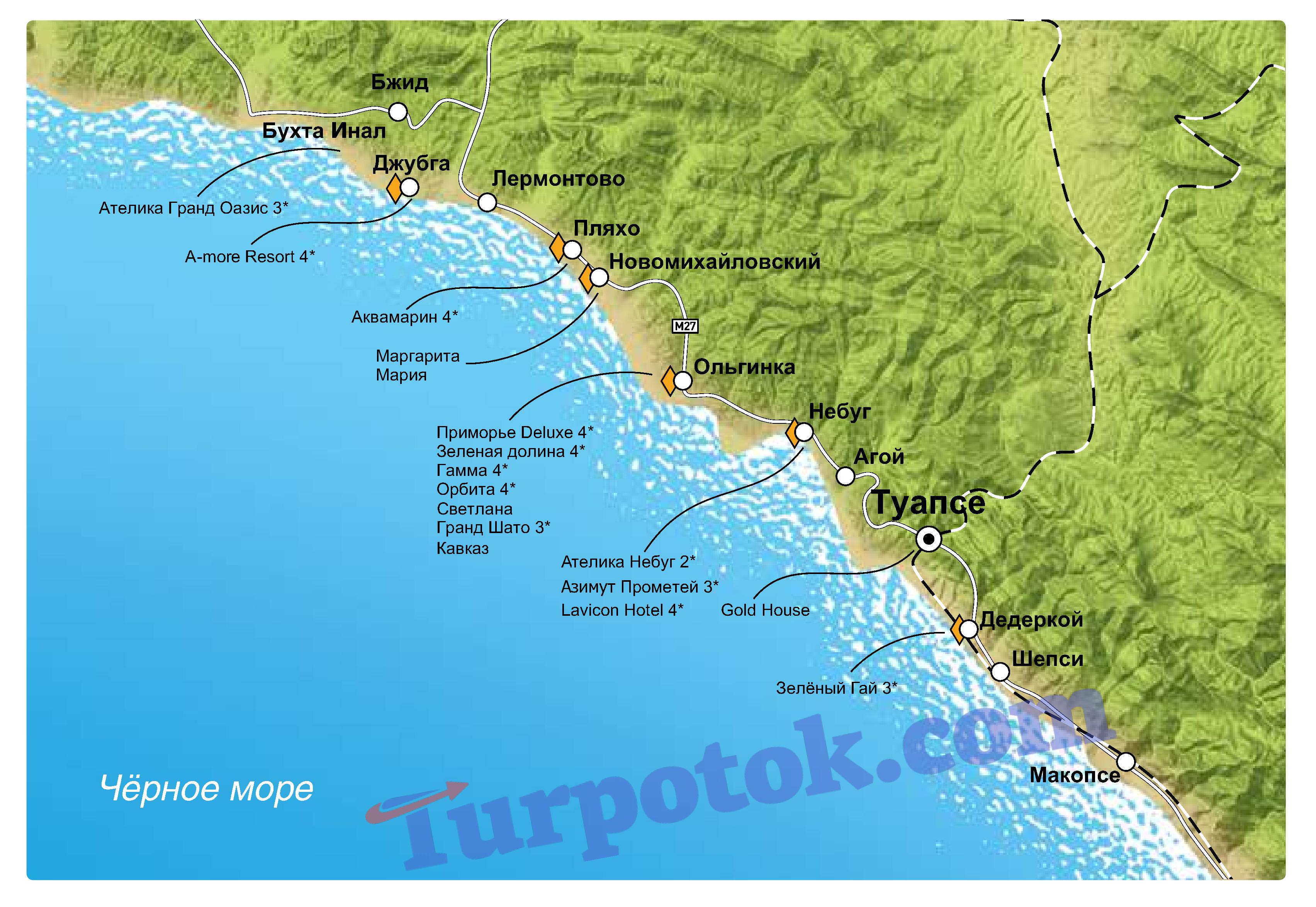 Карта Туапсе с отелями все включено