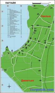 Карта Паттайи с достопримечательностями и автовокзалами