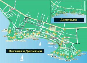 Схема расположения отелей в Паттайе на карте