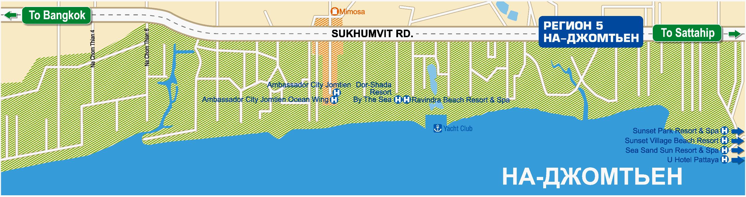 Схема пляжа На Джомтьен