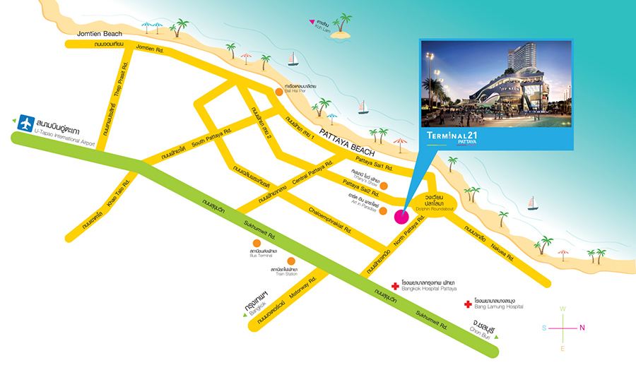 """Схема """"Как добраться до Terminal 21 в Паттайе"""""""