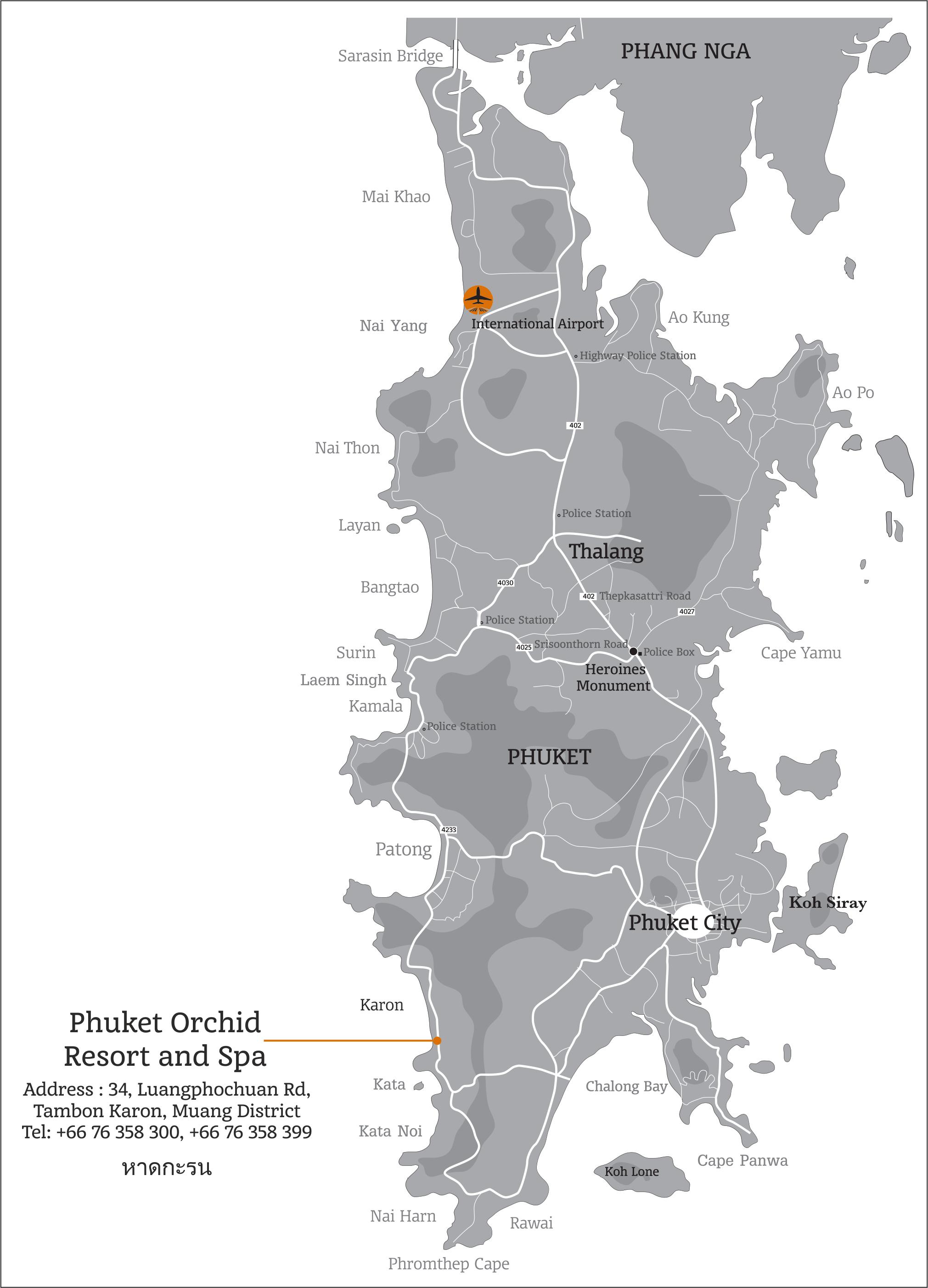 Карта Пхукета с отметкой отеля Phuket Orchid Resort