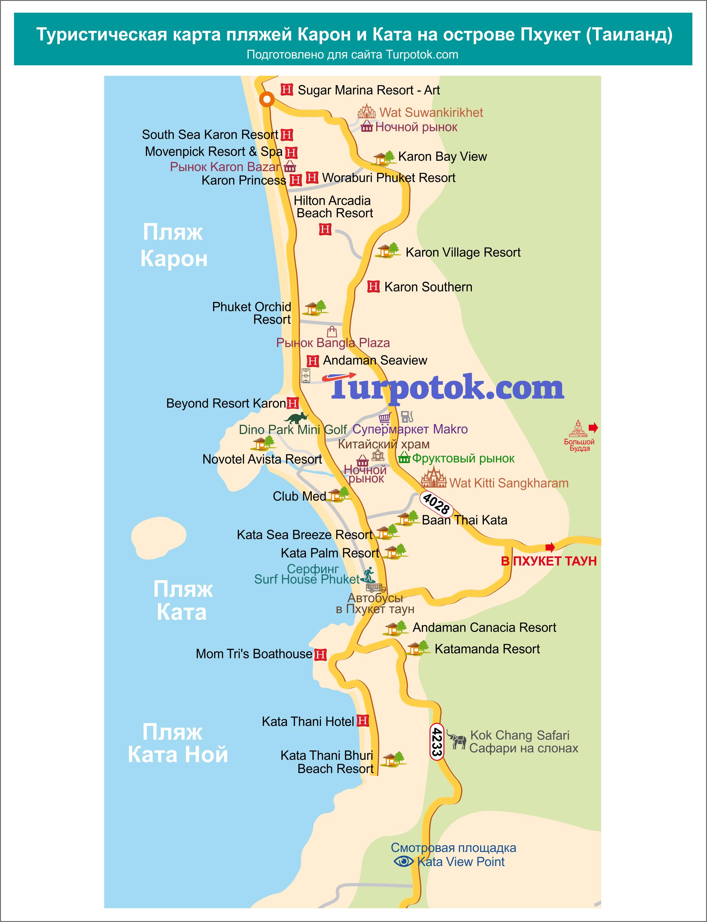 Схема с расположением рынков, храмов и достопримечательностей на Кароне и Кате