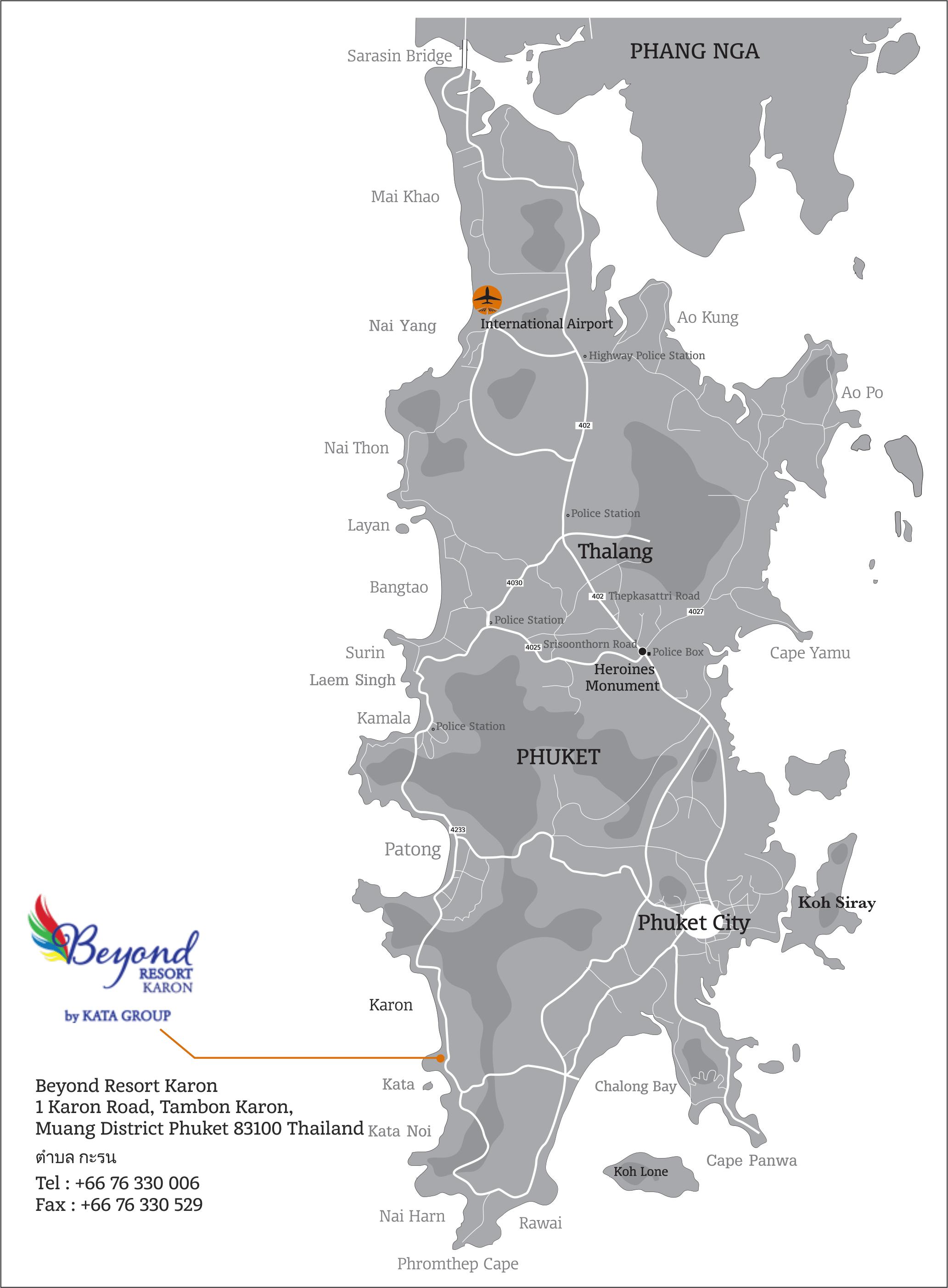 Карта-схема Пхукета с отелем Beyond Resort Karon