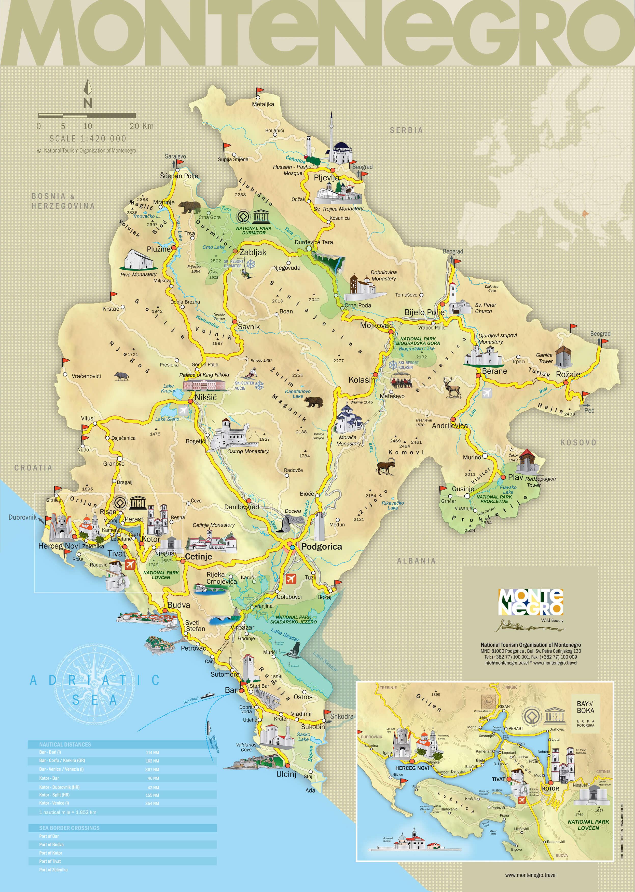 Туристическая карта Черногории на английском языке