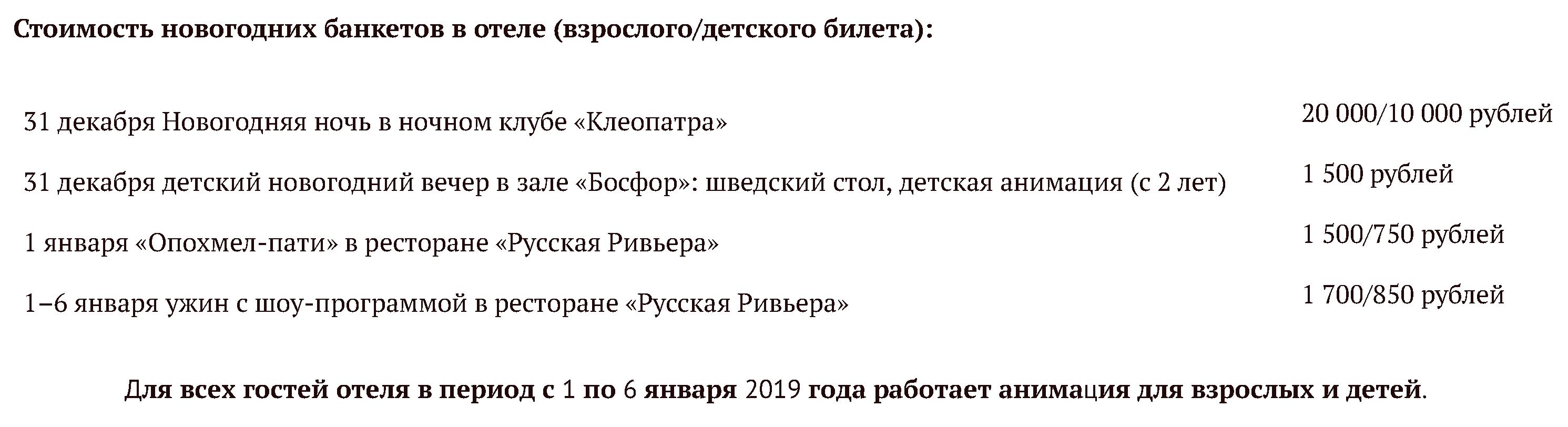 Новый год 2020 в Сочи: отели с программой на 31 декабря