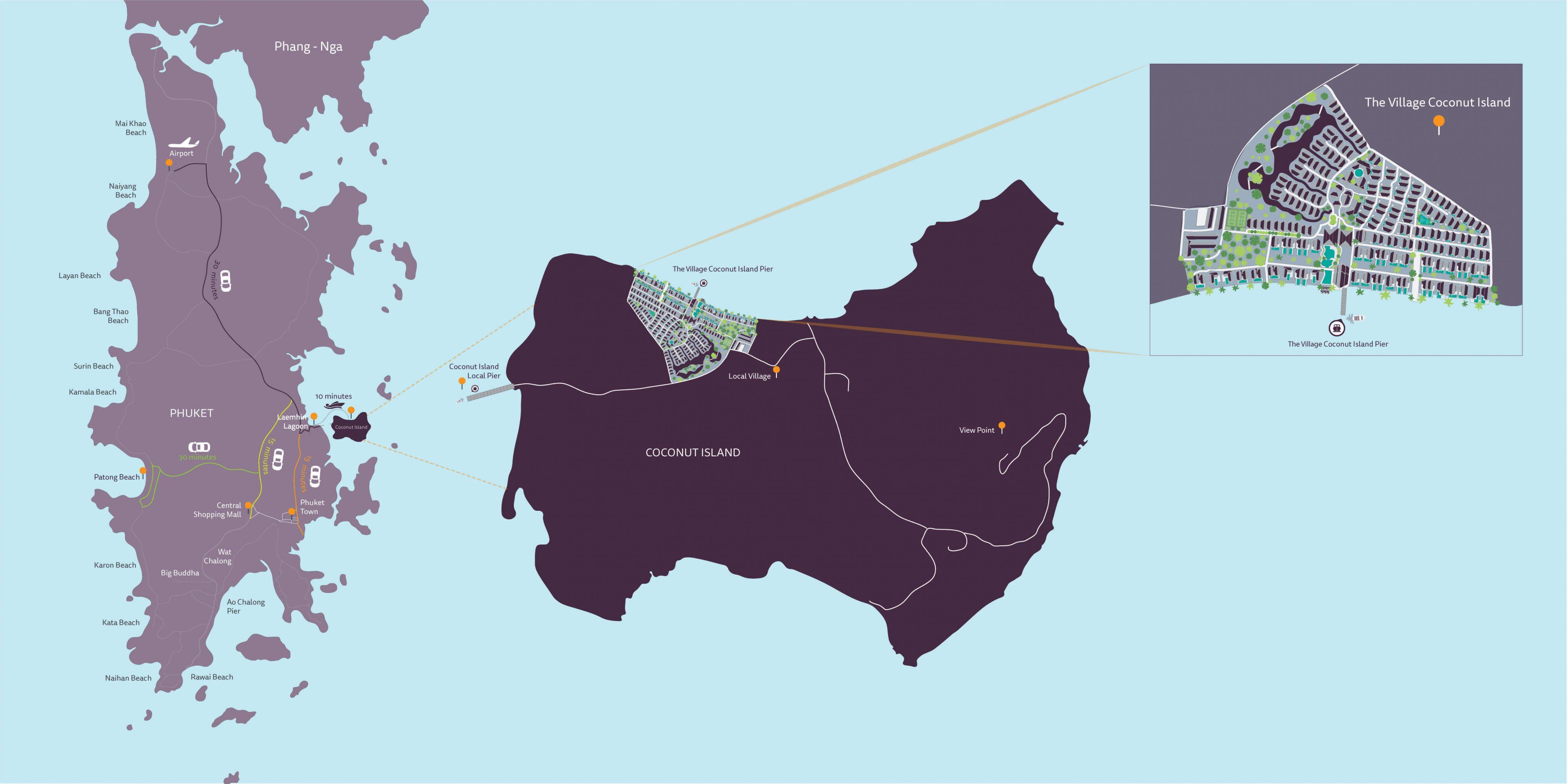 Карта кокосового острова рядом с Пхукетом