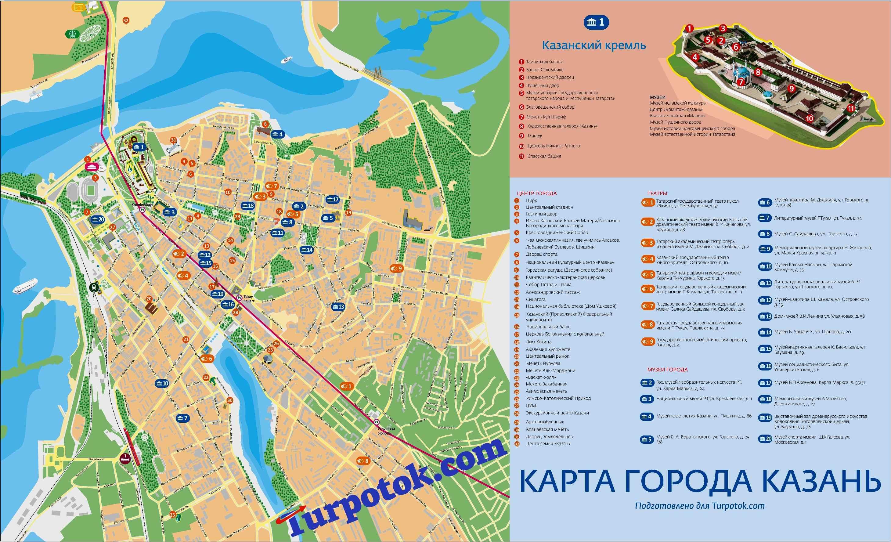 Схема города Казань с изображением Кремля, музеев, храмов и т.п.