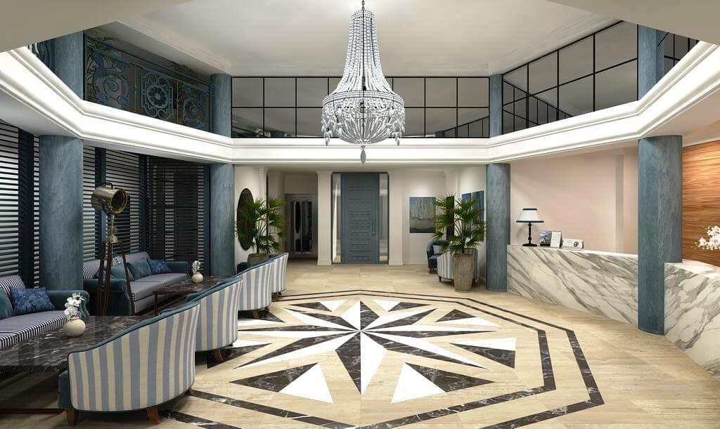 Фото лобби отеля «Белый песок» на курорте Джемете