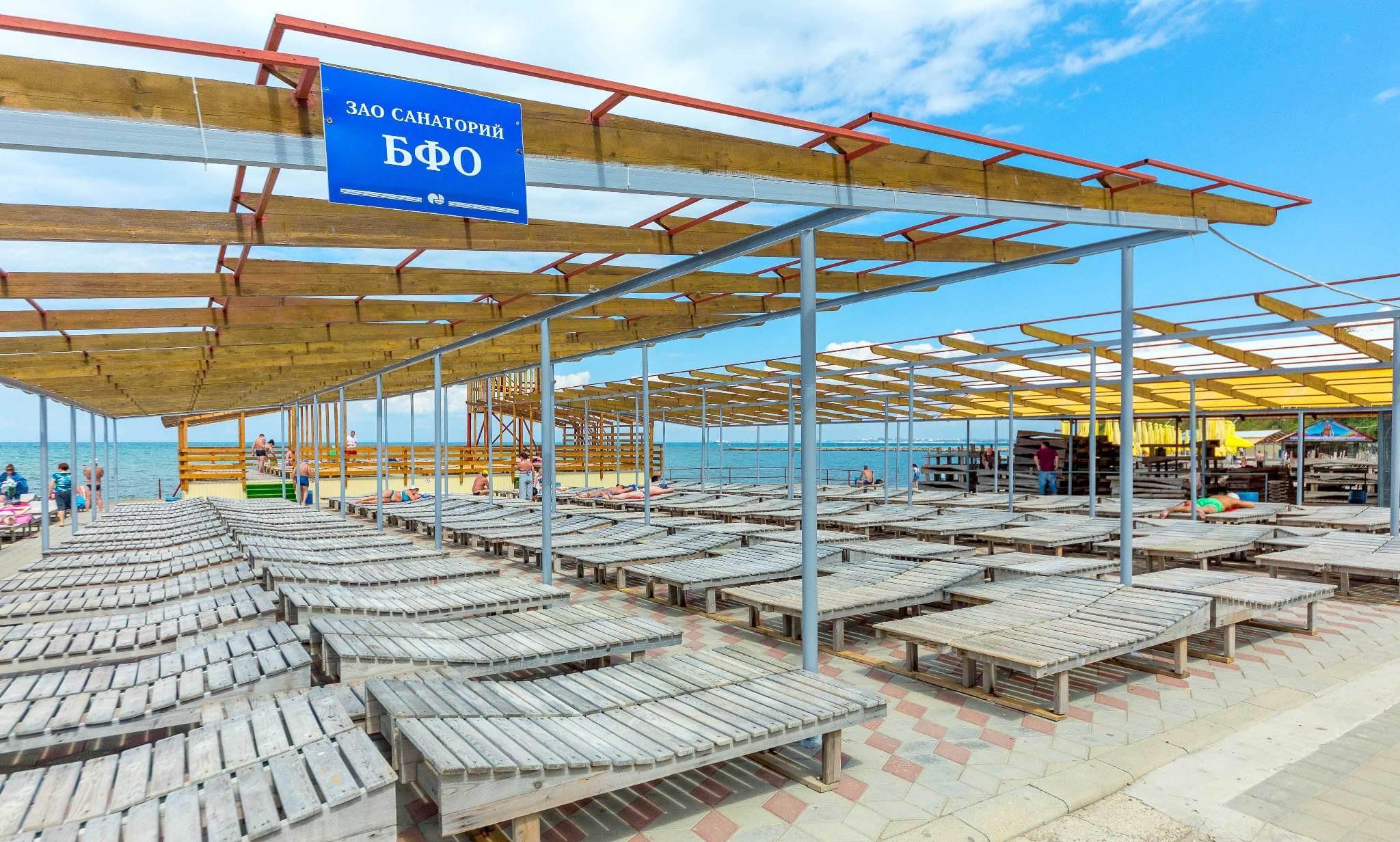 Фото пляжа, принадлежащего санаторию «БФО» в Анапе