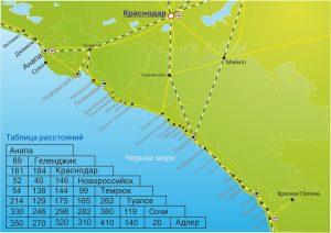Расположение Анапы на Черном море и расстояние от нее до соседних городов