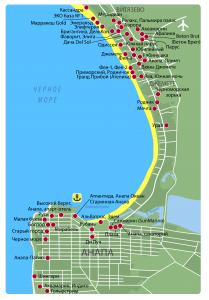 Карта-схема Анапы с отелями и санаториями
